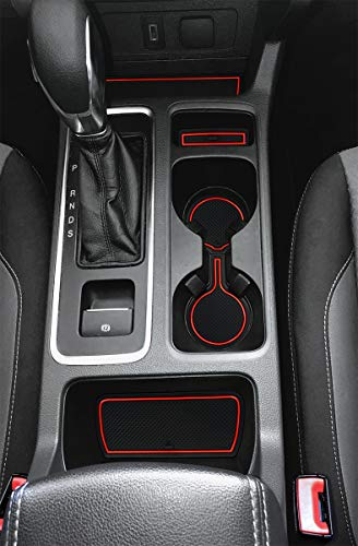 Auovo Anti-dust Mats for Ford Escape Accessories 2017 2018 2019 Interior Car Cup Holder Inserts,Center Console Liner Mats,Door Pocket Liner Mat Pad Rubber Premium Custom (Red)