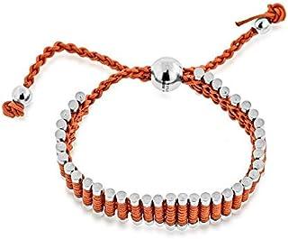 FOYLE Stainless Steel & Auburn Cord Adjustable Friendship Bracelet   Light Brown