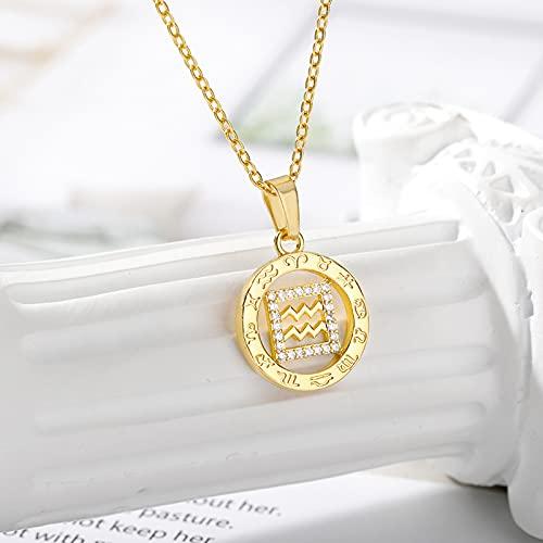 Moda Doce Constelaciones Collar Redondo Moneda De Metal Circón Signos del Zodiaco Colgante Collar para Mujer Chica Encanto Cumpleaños Joyería De Boda Regalo para Ella, Acuario