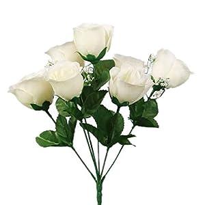 SN Decor 84 Silk Rose Buds Artificial Flowers for Wedding DIY Centerpiece Floral Arrangement (10″x4″) Fake Roses Cream Silk Flower with Gypsophila – New