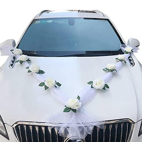 Irtyif Voiture de mariage de ruban, voiture de décoration de mariage, Blanc Luxe Romantique Rose Décoration De Voiture De Mariage Papillon Ruban Décoration Décoration De Fête De Mariage