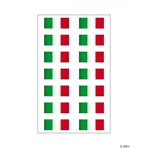 Stickerslab–14x Pegatinas de vinilo con la bandera italiana súper resistentes - Ideal para moto Vespa, coche Fiat, cascos, etc. - Dimensiones: 3,5 x 1cm