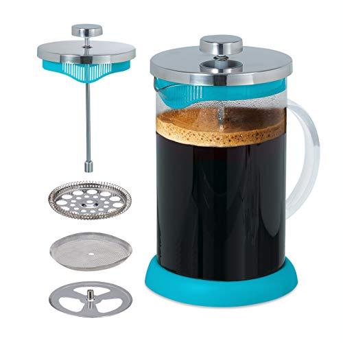 Relaxdays Kaffeebereiter, Edelstahlsieb, aromatischer Kaffeegenuss, 800 ml, Glas & Kunststoff, Teebereiter, hellblau