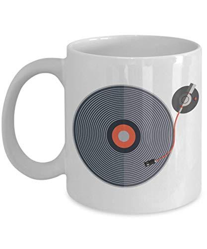 Lplpol Taza de regalo de vinilo para café y té, adorno, accesorios, decoraciones, novedades, suministros para fiestas, favores y regalos para DJ o disco, tocadisco, excavador de cajas de 11 onzas