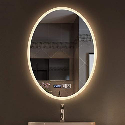 LLG Household Items& Ovale mural Led Lighted Miroir for salle de bain Applique Miroir avec double Interrupteur tactile anti-buée Miroir de maquillage Temps de température (couleur: lumière chaude, Tai