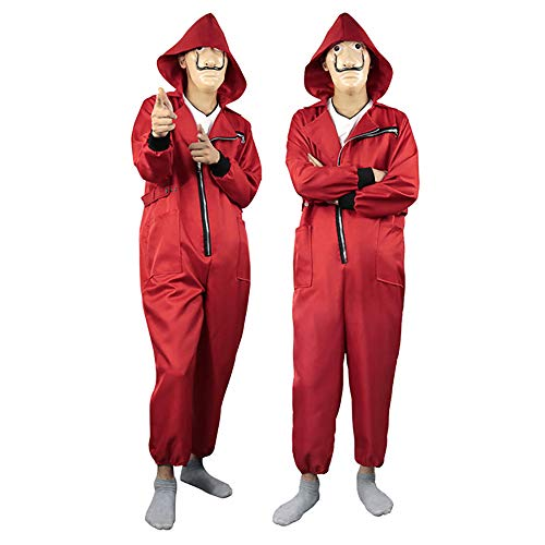 Cosplay Erwachsene Kinder La Casa De Papel Staffel 3 Kostüm Dali Dali Red One Piece großen roten Overall Maske Kostüm/Halloween Kostüm/Party dress up