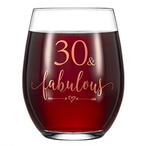 """Crisky Rose Gold 30 & Fabulous Wine Glass for Women 30th Birthday Gifts Funny Ideas for Women, Wife, Mom, Sister, Aunt, Friends, Coworker, Her Rose Gold Foil """"30 & Fabulous"""" 14oz, with Box"""