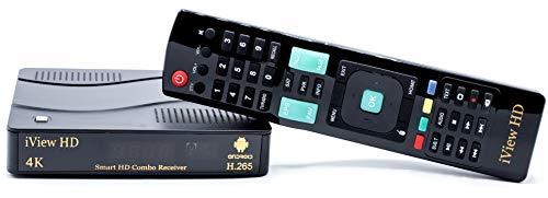 Nuevo Smart TV 4K Receptor Combinado de Android TDT HD + FreeSat HD Decodificador y Grabador de HD Satélite Sky Box Sintonizador Doble Digital Terrestre H.265 (5in1) Android 7.1 Negro
