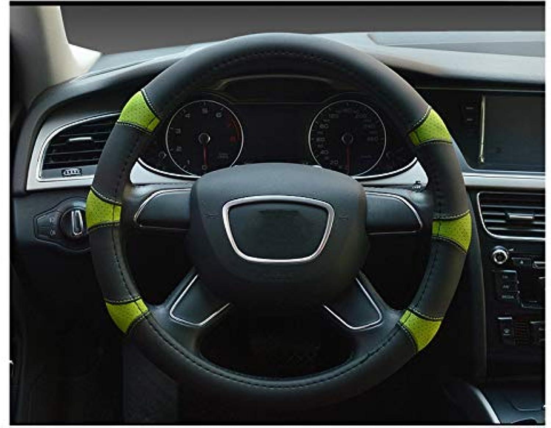 ADream Mikrofaser Leder Auto Lenkradbezug Komfort Haltbarkeit atmungsaktiv Anti-Rutsch-Auto Lenkrad Cover_ (schwarz  grün) B07HQJDP8H  Schönes Design