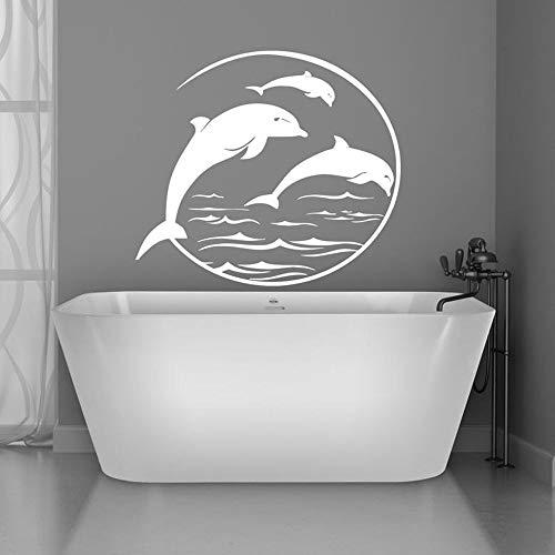 mlpnko Delphin Wandtattoo Fisch Wandaufkleber für Badezimmer Wohnkultur Schlafzimmer Küstenstrand abnehmbar93X100cm