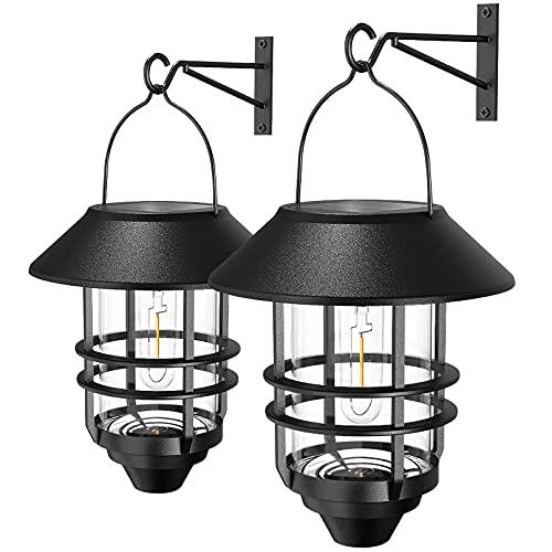 2 Pack Security Solar Hanging Lanterns Outdoor, Solar Wall Lights Outdoor, Solar Porch Lights Outdoor Lanterns 15 Lumen Heavy Glass & Stainless Solar Powered Porch Lights