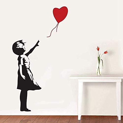 TrifyCore Pegatinas de Pared y murales de Banksy Muchacha con el corazón Globo Arte del Vinilo de la Pared de la Etiqueta engomada 56x29 Cm