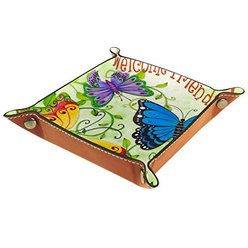 Caja de almacenamiento pequeña, bandeja de valet para hombre,Bienvenido amigos primavera única floral mariposa ,Organizador de cuero para llaves de caja de monedas