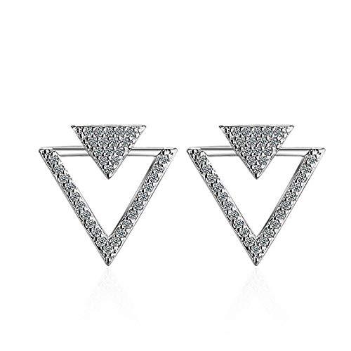 Pendientes Mujer Pendientes De Botón Triangular Hueco De Cristal De Circonita Brillante De Plata De Ley 925 para Mujer Pendientes Oorbellen Silver