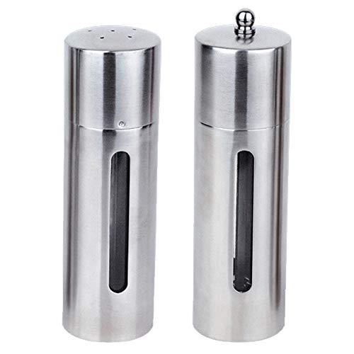 Essential Salt & Pepper Set Round, Stainless Steel Salt Shaker, Silver Cellar Grind Gourmet Storage Spice Jars with Convenient Easy-open Lid - Dishwasher Safe