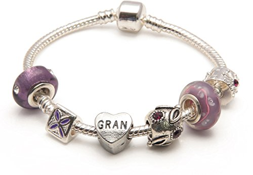 Liberty Charms Gran 'Purple Haze' Silver Plated Charm/Bead Bracelet. Gift Box & Velvet Pouch. Birthday/Christmas/Mother's Day Gift. (Other Sizes Available)