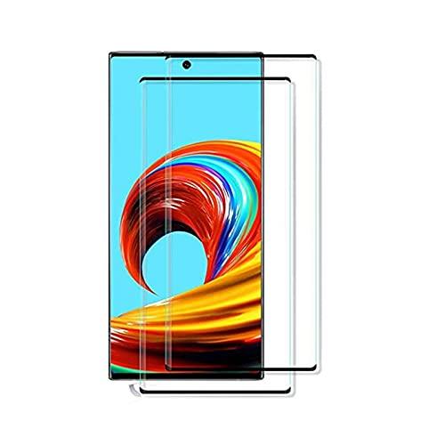 [2 unidades] Protector de pantalla para Samsung Galaxy Note 10 de cristal templado, antiarañazos, libre de burbujas y sin fundas, borde curvado 3D, protector de pantalla compatible Note 10