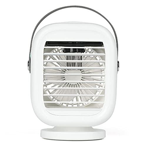 Ventilador De Mesa USB-Ventilador De Aire Acondicionado De Rotación De 120 Grados USB Refrigerador De Aire Recargable 3 Velocidad Humidificador Fan Ventilador para La Oficina En Casa-Blanco