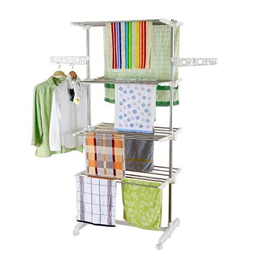 HS-Lighting Mobiler Wäscheständer Wäschetrockner-Turm Klappbar Standtrockner Kleiderständer Kleiderstange mit 4 Rollen, Seitenflügel auf 4 Ebenen (Edelstahl)