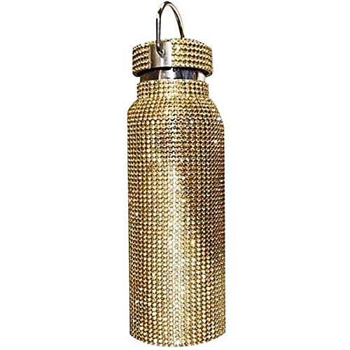 Sparkling Rhinestone Insulated Bottle,Bling Thermal Bottle Diamond Thermol,Vacuum Flask Mug Coffee Cups,Thermos Cups for Hot Drinks Leakproof,Best Gift for Men Women (Gold, 500ml)