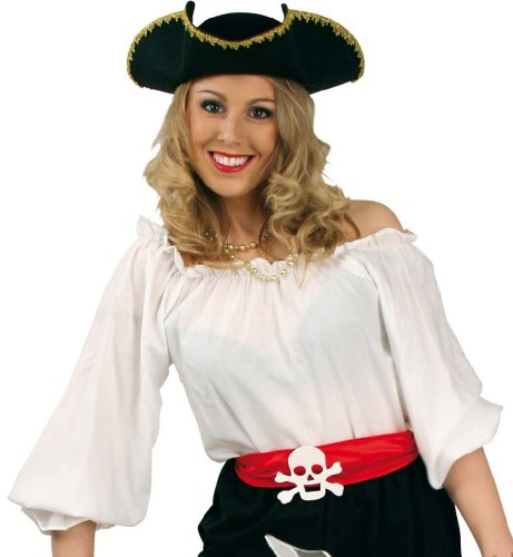 Fasching Karneval Kostüm Piraten-Bluse weiß, Pirat Piratenfrau Piratin: Größe: 38