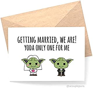 Yoda Only One For Me Wedding// Funny Wedding Card, Star Wars Wedding, Star Wars Gift, Card for Bride, Card for Fiance, Card for Groom