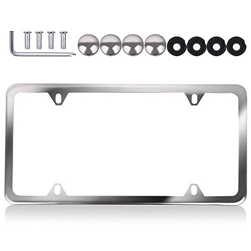 License Plate Frame Slim Design with Bolts Washer Caps, Aluminum Tag holders 4 holes kit,1pcs Car Licenses Plate Covers Holders,Silver Protect Front or Back License Plates for US Vehicles