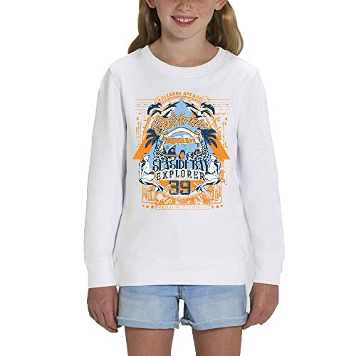 LookMyKase Sweat - Manche Longue - Col Rond - California Explorer - Fille - Blanc - 12-14ans
