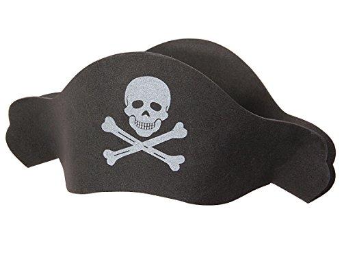 Alsino Piraten Hut Herren Damen Ph-04, Farbe: schwarz - mit Totenkopf Emblem