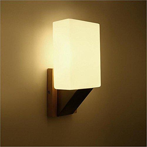 NIHE E14 chambre de verre allée lampe de chevet balcon bois simple tête LED vivant seul mur