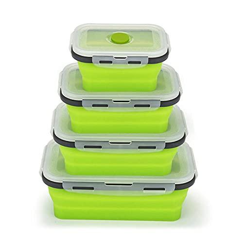 Un conjunto de 4 cajas de comida Caja de almuerzo de silicona Conjunto de caja de microondas Caja de caja de refrigerador Caja de almacenamiento