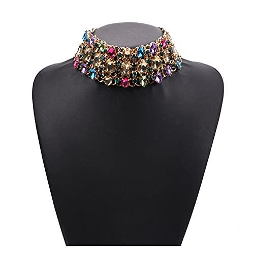 LPZW 2021 Declaración Chokers Collares Mujeres Grande Cuello Gran Gargantilla Collar Femme Joyería India Perla Collar de Cristal para Mujer (Metal Color : Multicolor)