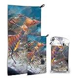 N\A Secret Seahorse Underwater 2 Pack Microfiber Woman Beach Towel Toallas de Cocina de Playa Set de Secado rápido Lo Mejor para Viajes de Gimnasio Mochilero Yoga Fitnes