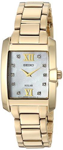 Seiko Women s Diamond Solar Japanese-Quartz Watch with Gold-Tone-Stainless-Steel Strap, 14 (Model: SUP378)