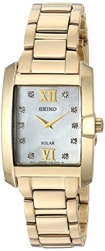Seiko Women's Diamond Solar Japanese-Quartz Watch with Gold-Tone-Stainless-Steel Strap, 14 (Model: SUP378)