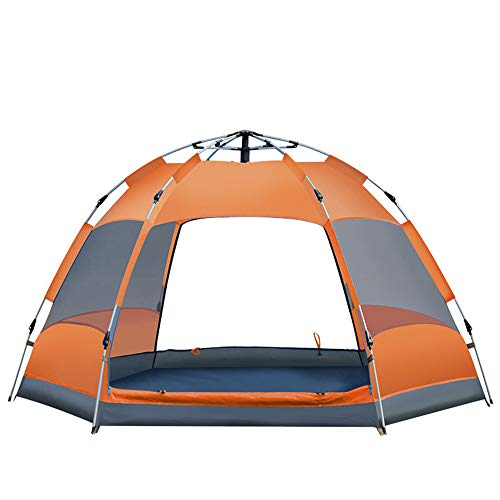 YST 3-4-5 Personen Doppeltür Automatische Geschwindigkeit Offen Im Freien Camping Zelt Sonnenschutz Panorama Sechseckigen Zelt Camping Zelt Feld Leicht Zu Zerlegen Und Zu Montieren,Chrome