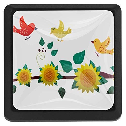 Primavera vogelhuisje zonnebloemen, 3 stuks, ladegrepen, meubelgrepen, van glas, decoratie voor kinderkamer, afmetingen: 37 x 25 x 17 mm 37x25x17mm 1 x Polsband