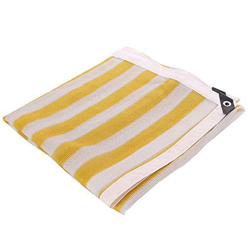 HAIZHEN Toldos, 80% Sun Net Rayas amarillas y blancas Tela de sombra de 6 pines para perreras y marquesinas Patio, balcón (Size : 3×3m)