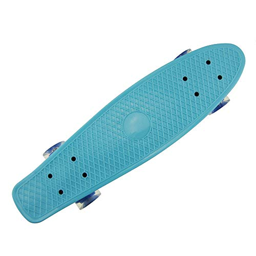 Isincer Mini Cruiser Skateboard, 22 Zoll Penny Board, Cruiser Retro Plastic Skateboard mit LED-Leuchträdern, Kick Skate Board für Anfänger, Kinder, Jugendliche