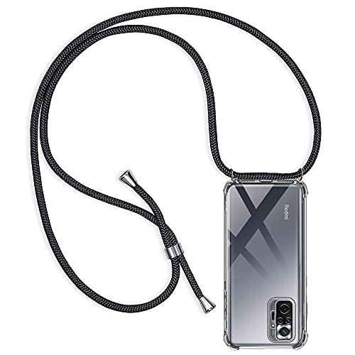CHIMUCO Handykette Hülle kompatibel mit Xiaomi Redmi Note 10 Pro 4G (6.67''), Handyhülle Handy Necklace Hülle mit Band Schutzhülle Kordel zum Umhängen Transparent Weich TPU Silikon Tasche, Schwarz