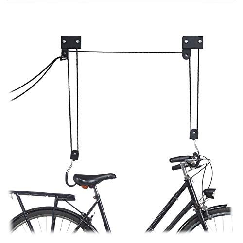 Relaxdays Bicycle Ceiling Mount, 57 kg Capacity, Hooks, Universal, Rope Brake, Pulley Hoist, Kayak, Bike Lift, Black