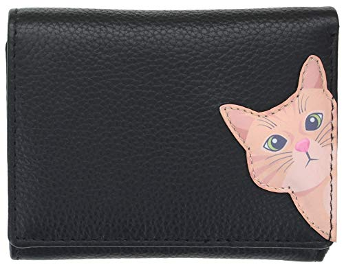 Mala Leather Cleo The Cat Collection Small Leather Purse RFID Blocking 353350 Black