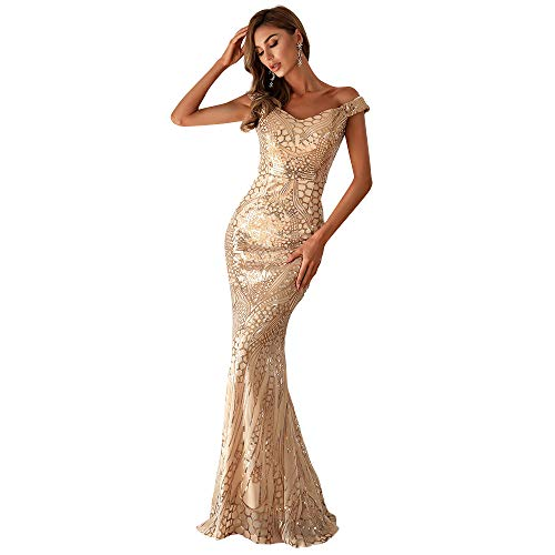 Miss ord Women's Elegant Formal V Neck Sequin Evening Prom Dresses, Floor-Length Long Mermaid Party Maxi Gown Gold
