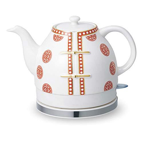Nobuddy Hervidor eléctrico de cerámica de Apagado automático rápido de hervir, Porcelana Azul y Blanco, hervir el Agua rápido para té, café, Sopa de Avena 1,2 L, 1200w / Red