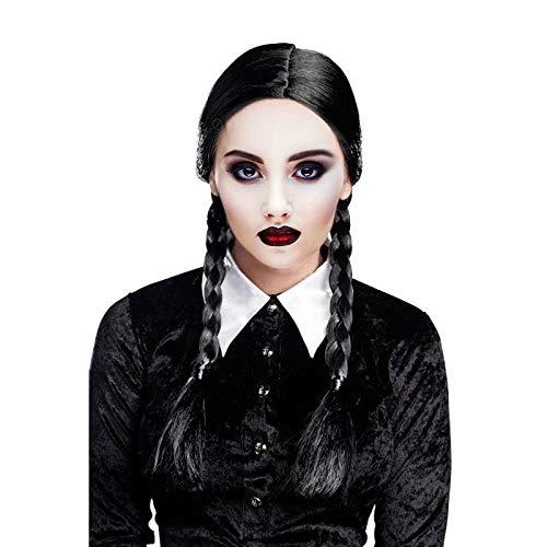 Peluca Negra Dos Trenzas Halloween