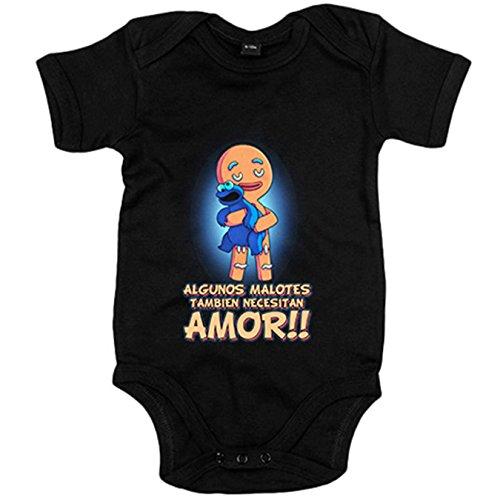 Body bebé parodia de El Monstruo de las galletas algunos malotes también necesitan amor - Negro, 12-18 meses