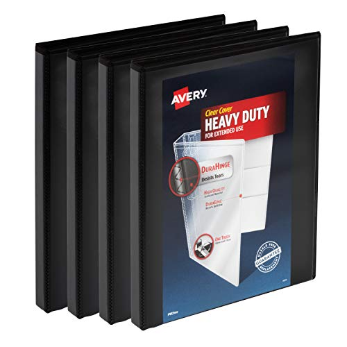 Avery Heavy Duty View 3 Ring Binder, 0.5' One Touch Slant Ring, Holds 8.5' x 11' Paper, 4 Black Binders (79708)