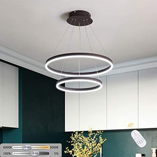 LED Hanglamp Rond Dimbaar met Afstandsbediening Moderne Acryl 2 Ringen Ontwerp Hanglamp Eettafel Hanglamp 36 W Verstelbare Hanglamp voor Office Keuken Island Eetkamer Ø40+24CM