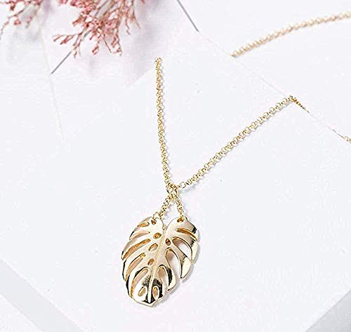 NC110 Necklace Simple Classic Pendant Necklace Feather Necklace Long Sweater Chain Statement Jewelry Choker Necklace for Women Leaf
