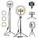 Deerfun Aro de luz LED,10' Anillo de Luz Selfie con Trípode 54.4inch, 3 Modos 10 Niveles de Luz para TikTok Youtube Instagram Vlog Vídeo Maquillaje Enseñanza
